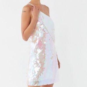 UO hologram sequin one-shoulder mini dress